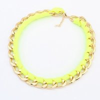 Wholesale Neon Rope Necklace - 2016 New fashion jewelry Neon color alloy rope weave Statement chain link choker Necklaces for Women girl ladies' Gift
