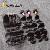 Wholesale Black Wavy Human Hair - 7A Brazilian Hair Bundles with Closure 8-30 Double Weft Human Hair Extensions Dyeable Hair Weaves Closure Body Wave Wavy Free Shipping