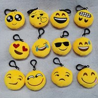 Wholesale Trendy Bags For Men - 10pcs 6*2.5cm Cute Lovely Emoji Smile keychain Yellow QQ Expression face key chain key rings hang doll toy for bag car
