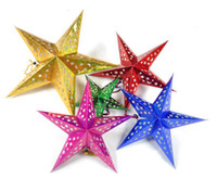 Wholesale Christmas Three Ornaments - Free shipping Christmas decorations Three-dimensional laser pentagram Bar ceiling decoration Ornaments Star Christmas Gift Four Color