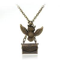 Wholesale Bronze Owl Locket Necklace - Vintage Antique Bronze Owl Necklaces With Envelope Charm Pendant Movie Jewelry Accessories Letter Pendant Locket Necklace