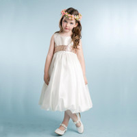 Girl black bubble tea - 2016 High Quality Ivory Flower Girl Dresses A Line Jewel Neck Girls Special Occaison Kids Bridesmaid Gowns with Gold Sequins Sash Bubble He