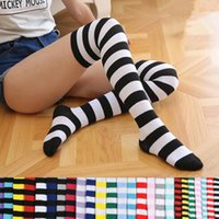 Wholesale Zebra Knee High Socks - 21 Colors Striped Knee High Socks for Big Girls Adult Japanese Style Zebra Thigh High Socks Spring Stockings 2pcs pair CCA7139 50pair