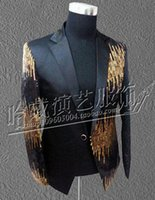 Wholesale Dance Costumes Jacket - Gentleman personality han edition costumes nightclub singer star stage performance clothing sequins suit jacket S - 4 xl