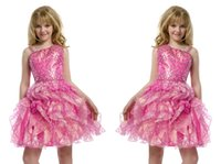 Wholesale Teen Knee High - 2016 High Quality Pre-Teen Full Pink Sequins Beads Girls Pageant Dresses Knee-Length Little Kids Party Gowns