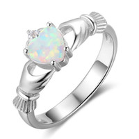 Wholesale Wholesale Claddagh - 925 Sterling Silver Claddagh Rings Heart Fire White Opal Diamond Rings Promise Engagement Rings For Women