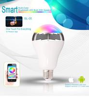 lâmpadas de música bluetooth venda por atacado-Nova lâmpada led e27 controle bluetooth sem fio função de música de luz de alto-falante 2 em 1 smart colorido bolha lâmpada bolha para iphone samsung