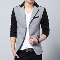 ingrosso vestito grigio maschio-Nuovo arrivo 2017 moda casual in cotone slim fit vestito coreano blaser masculino maschio giacca uomo giacca disegni grigio taglia m-3xl
