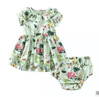 Wholesale Short Baby Doll Dress - Toddler kids outfits cute baby girls doll collar floral printed pleated dress+shorts 2pcs sets Infants Farmhouse Style outfits G0832