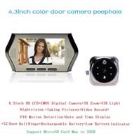 Wholesale Door Peephole Camera Motion Detection - New wireless door peephole camera PIR motion detection 4.3inch LCD IR night vision 32 Rings 0.3Megapixels video-eye Max 32G