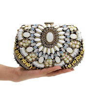 Wholesale Bag Gemstones - hot sale new embroidery Fashion Handmade Evening Clutch luxury lady Designer glittering rhinestone gemstone beaded Evening Bag