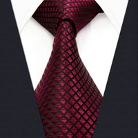 Wholesale Burgundy Necktie - U25 Solid Checked Burgundy Crimson Black Mens Neckties 100% Silk Jacquard Woven