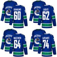 Wholesale Blue Yan - 2018 2017 New Brand Men Vancouver Canucks 60 Markus Granlund 62 Joseph LaBate 64 Zack MacEwen Yan Pavel LaPlante Blue Custom Hockey Jerseys