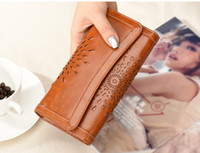 Wholesale Large Cowhide Purse - Lluxury vintage Large Capacity Long WALLET Genuine Oil Wax Leather Women Wallet Sunflower Pattern Cowhide Leather Purse