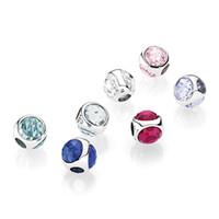 charme tröpfchen großhandel-Sieben Clolors 925 Sterling Silber Perlen Radiant Droplet Charms Fit Pandora Style Schmuck Armbänder Halskette 792095
