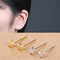 Wholesale Minimum Order Quantity - two colour gold and white gold earring star sterling simple Earring Studs small minimum order quantity tiny silver jewelry
