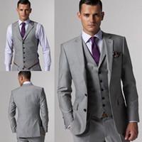 Wholesale Mens Harris Tweed Blazer - Notched Lapel Bridagroom Tuxedos Side Vent Mens Slim Fit Suits Three Piece Suit For Blazer Men