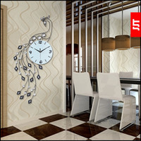 gran saln reloj de pared de pavo real europea arte moderno mute de cuarzo reloj
