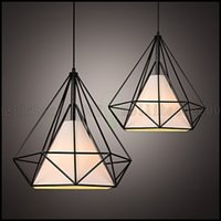 Wholesale birdcage pendant light chandelier - E27 Line 1M 38*38CM Loft Industrial Wind Restoring Ancient Ways Wrought Iron Lamps Lanterns Birdcage Chandelier LED LLWA132