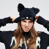 Wholesale cat hats for women for sale - Group buy Winter Hat Cute Cartoon Design Cat Ears Knitted Hats For Women Beanie Keep Warm Black Popular lz C