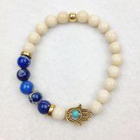 Wholesale Luck Stones Wholesale - SN0621 Wholesale 8mm Blue Sea Jasper Bracelet Hamsa Bracelet Natural Stone With Turquoise Bracelet Luck Jewelry Free Shipping