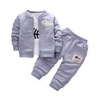 Wholesale Baby Clothes Fishing - 2017 Baby Children Clothing Sets Boys Cotton Coat + shirt + trousers 3pcs fish bone Suits Autumn And Winter Children Tracksuits