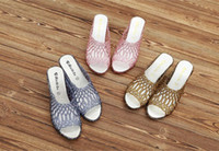 Wholesale High Heels Flashing - Hot Explosion Section Of The Word Cool Slippers Flashing Pink Slope With Ladies Sandals Thick Bottom Slope With The Bird's Nest High Heels