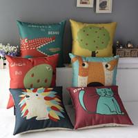 Wholesale Hedgehog Pillows - 45cm Crocodile Dog Cat hedgehog Cotton Linen Fabric Throw Pillow 18inch Handmade New Home Office Bedroom Decoration Sofa Back Cushion