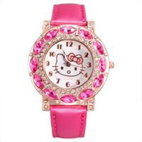 кошачьи кожаные часы оптовых-Мода женщины девушка Hello kitty KT cat стиль большой кристалл Кожаный ремешок Кварцевые наручные часы