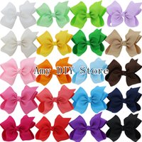Wholesale Girls Clip Hairbow - Free Shipping 40pcs lot 5.5'' Grosgrain Ribbon Hair Bows WITHOUT Clips Baby Girls Boutique Hair Bow Infant Hairbow Accessories HJ072