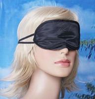 Wholesale Sleep Mask Wholesaler - Black 50pcs lot Eye Mask Shade Cover Blindfold Sleeping Travel Free shipping 100% New AAAA quality