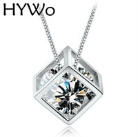Wholesale Crystal Window Jewelry - HYWo High-quality Silver-plated pendant square cube love window Ladies fashion crystal jewelry manufacturers, wholesale Chainless