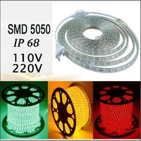 Wholesale Power Plug Types - can cut 1m 100M 50M 5050 SMD Flexible RGB Led Strip Lights 220V Tube-type Waterproof IP68 Led Decoration Light + Power Supply Plug EU US