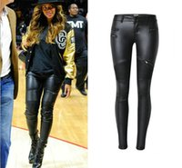 Wholesale Long Faux Leather Pants - 2016 Womens Pu Leather Patchwork Low Waist Skinny Pencil Pants Lowrise jeans Fashion Zippers Boots Ladies Casual tights slim Denim Trouser