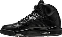 Wholesale Light Up Suits - Air Retro 5 Premium Black Basketball Shoes Mens Air Retro 5 PRM Triple Black Air Retro 5 Flight Suit Sneakers size us 8-13