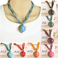 Wholesale Lady Multi Crystal Necklace - 2016 Wholesale Cabochon and Crystal Peacock Pendant Necklace Multi Strands Twisted Glass Beads Choker Necklaces 17 Colors For Lady Free DHL