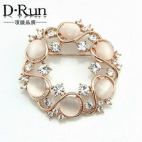 Wholesale Opal Gemstone Gifts - 2016 Free postage boom latest Korean decorative opal diamond wreath brooch gift jewelry boutique wild