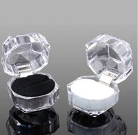 Wholesale Glass Earring Holder - Transparent Jewelry Boxes Holder 4*4cm For Rins Earrings Stud Dust Plug Crystal Acrylic 20PCS Wedding Gifts ZB0005