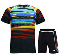 Vêtements De Doublure De Badminton Pas Cher-Li Ning 2017 hommes badminton sportwear t-shirt, vêtements de compétition, doublure de badminton costumes chemises + shorts, maillot de tennis de table