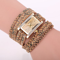 Wholesale Tungsten Watch Sale - Foreign trade sales hot style Creative multicolor leopard grain square watch Belt weaving around ladies watch spot