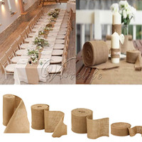 Wholesale chinese chairs resale online - 10 meters Hessian Burlap Ribbon Roll Vintage Rustic Natural Wedding Table Runner chair decor burlap table runner for home banquet