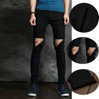 Wholesale Denim Jeans 27 - Knee ripped jeans punk slim fit elastic black mens pants strech denim jeans beggar long pants plus size 27 -36