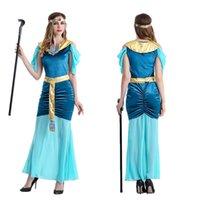 göttin kleid grün großhandel-Halloween Cleopatra griechische Göttin dienen arabische Mädchen Prinzessin Kleid grün, kultivieren Sie Ihre Moral Kleid