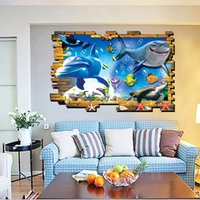 Wholesale Picture Bricks - 3D Stereo Brick Fake Frame Shark Underwater World Picture Wall Stickers Dinosaur Walked out from Brick Wall Wallpaper Poster Decor Applique