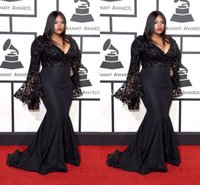 Wholesale Deep V Neck Award - 2016 Grammy Awards Plus Size Celebrity Dresses With Long Sleeves V Neck Jazmine Sullivan In Sequined Prom Gowns Black Mermaid Evening Dress