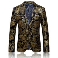 Wholesale Gold Suit Jackets For Men - Wholesale-Gold Blazer For Men Luxury Brand Floral Blazer Formal Jacket Mens Embroidered Blazer Vintage Suit Prom Blazers Casual Coat Q51