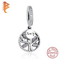 Wholesale Family Crystals - BELAWANG European 925 Sterling Silver Family Tree Pink Crystal Charms Beads Fit Pandora Charm Bracelet&Necklace Authentic Jewelry Making