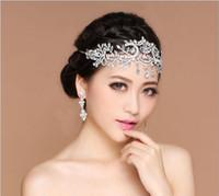 diadema bling al por mayor-2017 Bling Silver Accesorios de boda Tiaras nupciales Horquillas Diamantes de imitación de cristal Tocados Joyas Mujeres Frente Coronas para el cabello Diademas