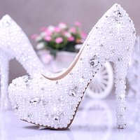 Wholesale Gorgeous Rhinestone Wedding Heels - White Pearl Elegant Honeymoon Shoes Rhinestone Wedding Dress Shoes Gorgeous Bridal Shoes 14cm Super High Heel Dress Shoes Plus Size