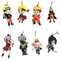 anime karakteri aksesuar toptan satış-10 adet / grup Naruto Karakter Uzumaki Kakashi Sasuke Sakura şekil Kolye ile Halka PVC Kauçuk anahtarlık Anime karikatür aksesuarı